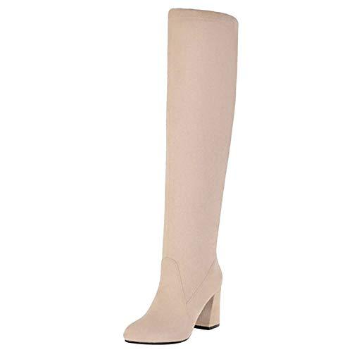 Fashion Apricot Boots Block Thigh Coolcept Women Heel High 8HPn1v