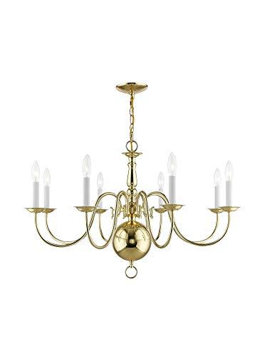 Livex Lighting 5007-02 Williamsburg 8-Light Chandelier, Polished Brass