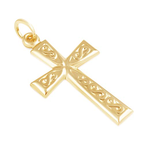 14K Yellow Gold Filigree Solid Cross Religious Pendant/Charm for Men and Women