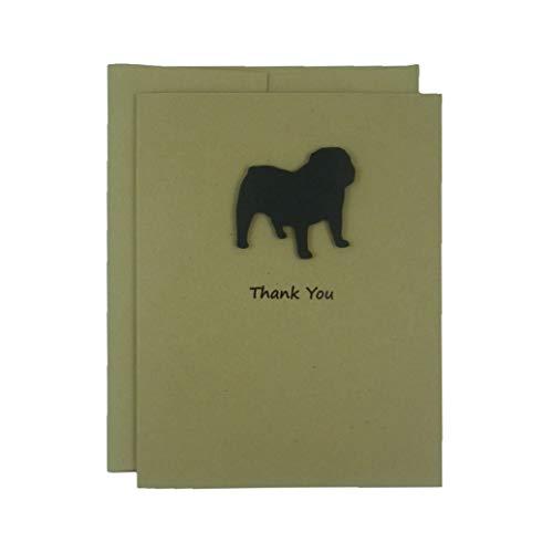 Bulldog Thank You Cards - Handmade Black Dog Kraft Thank You Note Cards - Greeting Card 10 Pack