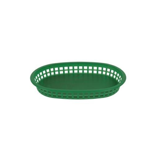 Thunder Group PLBK1034G, 10-3/4-Inch Oval Polypropylene Fast Food French Fries Basket, Green Plastic Bread Basket, 12-Piece Pack