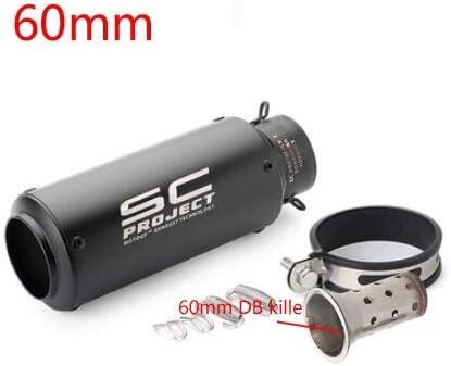 Silencieux 51mm 60mm moto Tuyau d/échappement avec DB-Killer Pot d/échappement Tuyau Silencieux for tuyau d/échappement en fibre de carbone Projet SC Les Syst/èmes D/échappement Color : A1 51MM