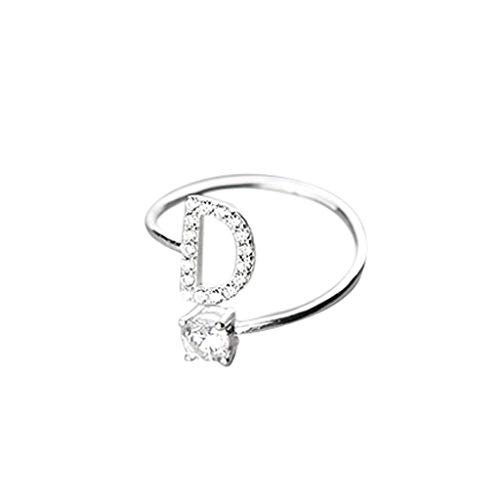 Initial Letter Ring, Haluoo Sterling Silver Alphabet Initial Ring A-Z Stackable Ring 26 Letters Statement Ring Adjustable Open Wrap Engagement Promise Ring Band for Women Men (D)