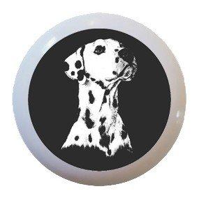 Dalmatian Dog Puppy Ceramic Knobs Pulls Drawer Cabinet Vanity Closet 935