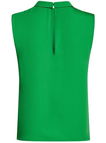 oodji Ultra Mujer Blusa Básica sin Mangas con Cuello Verde (6A01N)