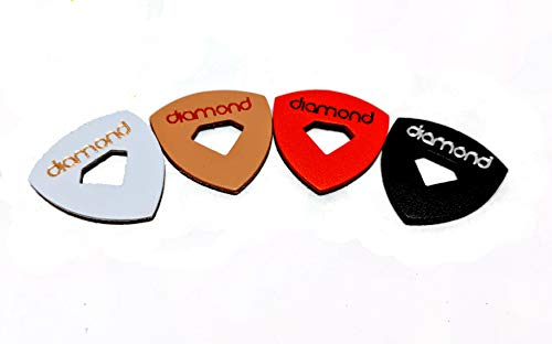 Leather Ukulele Picks with Diamond-Shaped Cutout Hole for Enhanced Grip Never Drop your Pick while Playing also works as a Guitar Pick or Bass Pick Leather 4-Pack