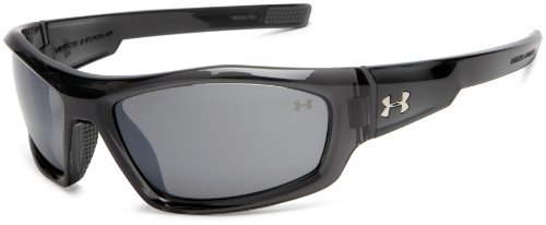 (Under Armour Power Multiflection Oversized Sunglasses, Crystal Gray Frame/Gray Lens, one size)