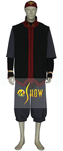 [Mtxc Men's Avatar: The Last Airbender Cosplay Costume Aang Full Set Size Large Black] (Avatar Aang Costume)