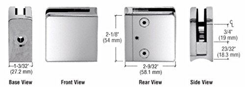 C.R. LAURENCE Z710PS CRL Polished Stainless Z-Series Square Type Radius Base Stainless Steel Clamp for 3/8
