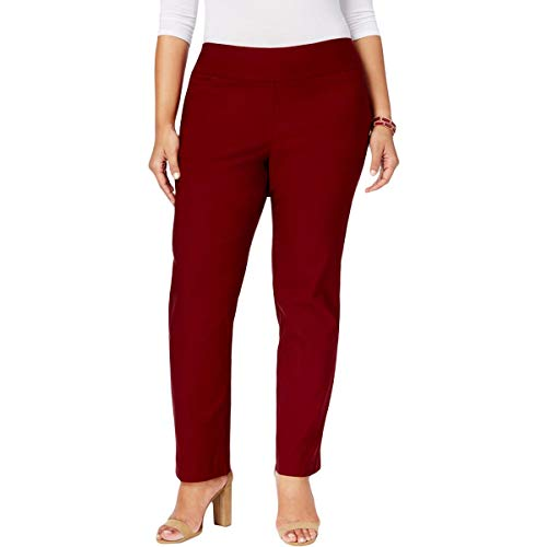 (Charter Club Womens Plus Tummy Control Waist Smoothing Dress Pants Red 16W)