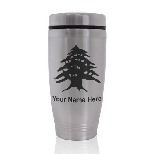 Commuter Travel Mug - Flag of Lebanon - Personalized Engraving Included