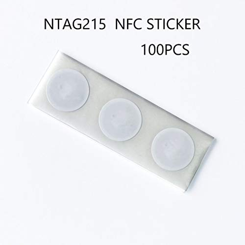 Ntag215 NFC Stickers 100% Guaranteed NFC Tags Compatible with TagMo with 504 Bytes Memory,Work with All NFC-Capable Phones -100 Pieces(Round)