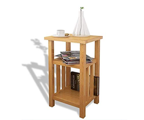Oak Side Table Solid Wood Bedroom Furniture Small End Wooden Coffee Hallway Hall Lamp Plant Telephone Stand 2 Shelves Vintage Living Room Magazine Modern Console Occasional Storage Narrow Paper ()