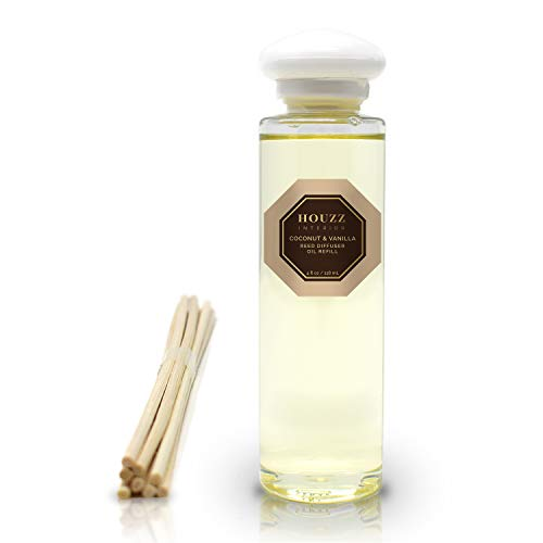 HOUZZ Interior Reed Diffuser Refill Oil Coconut & Vanilla Bean Scented Sticks - Coconut, Vanilla Cream, Cedarwood & Vanilla - Natural - No Sulfates or Parabens - Home Gift Idea - Made in The USA