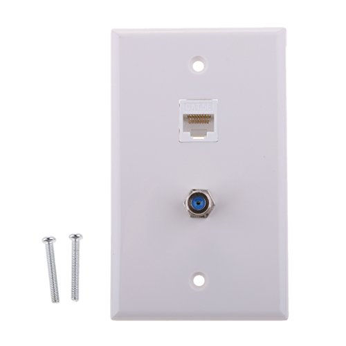 MagiDeal Coaxial F Connector Ethernet Network RJ45 Jack Wall Plate Socket Outlet (F Connector Combo Jack Plates)