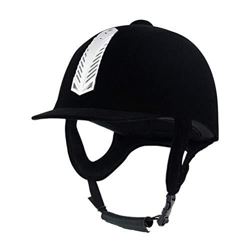 (UNISTRENGH Velveteen Equestrian Helmets Comfortable Velvet Horse Riding Hat Horse Riding Helmets Lightweight Black Unisex (23.62inch/60cm))