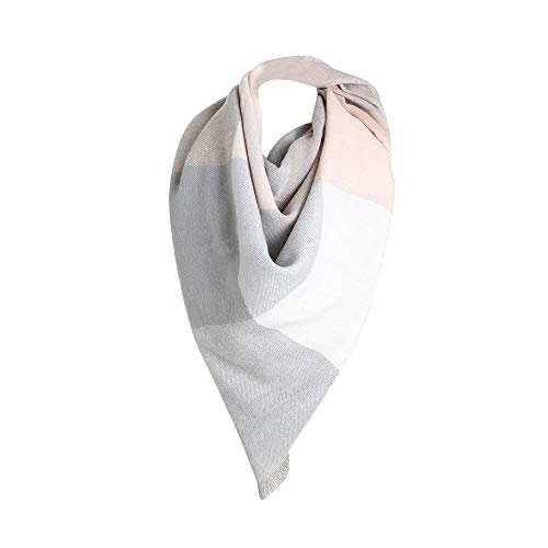 Plaid Scarfs Hot Sale, deatu Clearance Man Woman Teen Girl Fall Winter Warm Color Long Plaid Soft Shawl Infinity Scarf (Gray)