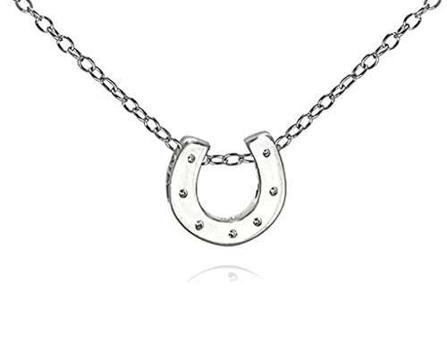 Tiny Horseshoe Pendant Necklace .925 Sterling Silver Women