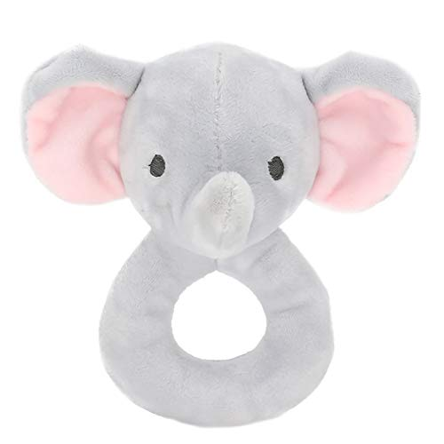 YaptheS Hand Grasp Soothing Toy Appease Toy Cartoon Animal Rattle Plush Doll for Babies (Elephant) Nice Gift ()