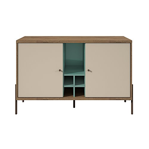 Manhattan Comfort 350632 Joy Series Mid-Century Modern Buffet Sideboard, Blue/Off-White
