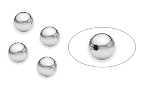 - 10 Pieces Sterling Silver Round Bead 10 mm