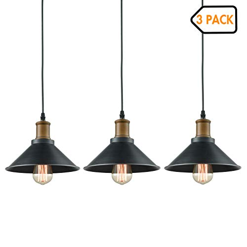 Dazhuan Ceiling Light 3-Lights Pendant Metal Hanging Kitchen Farmhouse Industrial Lighting Fixture 3 Pack ()