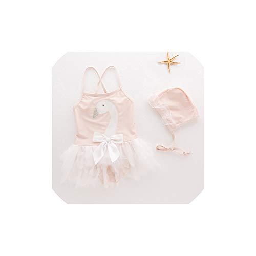 Smileshop01 Girls Swimsuit Dress Children's Swimwear Swan Mesh Dress with Swim Hat