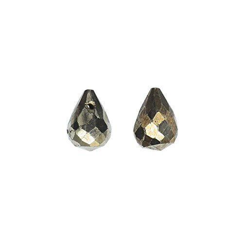 - Pyrite Gemstone Beads, Faceted Teardrops 10x12mm, 10 Pieces, Gold