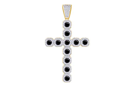 - 3 Cttw Round Black & White Natural Diamond Iced Out Hip Hop Jewelry Cross Pendant in 14k Solid Yellow Gold