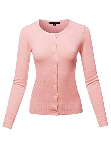 Regina George Costumes (Casual Basic Solid Button Down Long Sleeve Soft Knit Cardigan Baby Pink)
