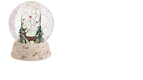 Raz Imports Deer and Cardinals in Winter Forest LED Lit Snow Globe Water Dome 6'' by RAZ Imports