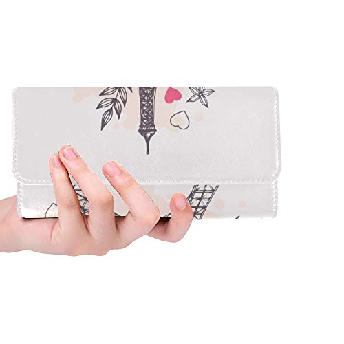 Unique Custom Eiffel Tower Parisian Symbol Hand Drawn Women Trifold Wallet Long Purse Credit Card Holder Case Handbag