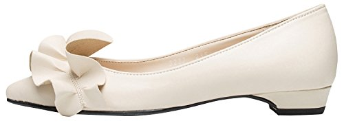 Ivory Womens AnnaKastle Ballerina Accent Ruffle Flat Pointy Ballet Shoes ZfPwfpq8n