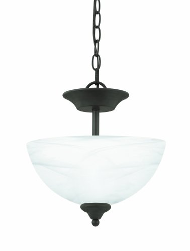 Thomas Lighting Pl8614-63L Tahoe Two-Light Convertible Energy-Star Certified Semi-Flush Or Chain-Hung Fixture, Painted Bronze