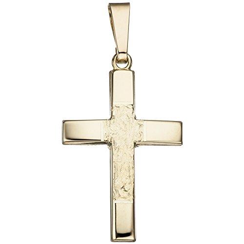Jobo Pendentif en forme de croix en or jaune 585martelé croix pendentif or Croix Pendentif
