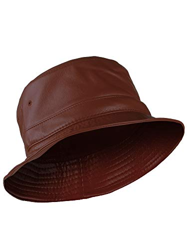 American Cities Unisex Fishing Hunting Fashion Bucket Snapback Hat Cap - Brown Faux ()