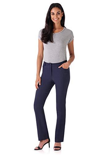 Rekucci Women's Iconic Stretch 5 Pocket Straight Leg Pant w/Zipper Closure (14,Indigo) - Indigo Wide Leg Trousers