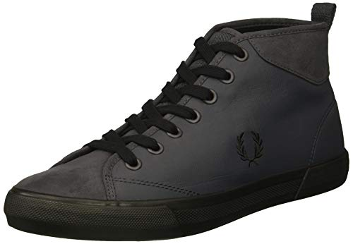 Fred Perry Men's Horton MID Ripstop/Microfibre Sneaker, Charcoal, 8 D UK (9 US) (Sneaker Mid Perry)
