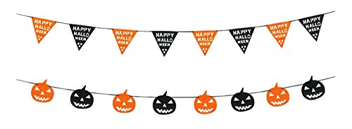 Set of 2- Halloween Decorations Pumpkin Bunting Banners Triangle Flag]()