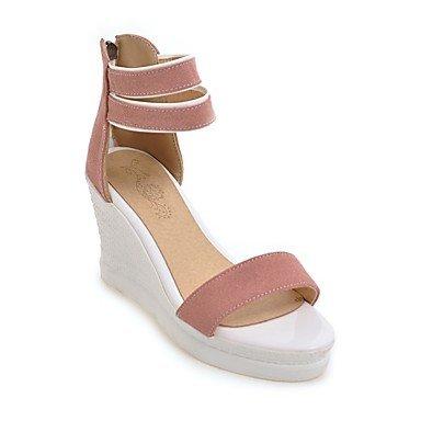 LvYuan las sandalias de los zapatos del club de las mujeres de confort novedad materiales de lana personalizado alineada al aire libre de la Pink