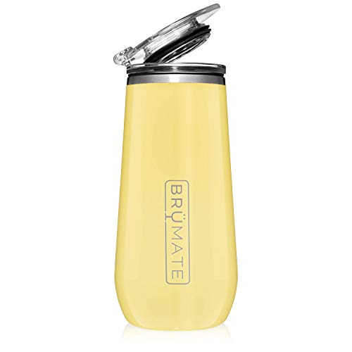 BrüMate 12oz Insulated Champagne Flute With Drink-Through Lid - Made With Vacuum Insulated Stainless Steel (Daisy)