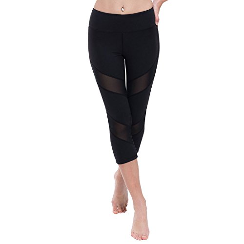 ONGASOFT Womens Yoga Pants Mesh Workout Capri Legging W Hidden Pocket (Black,L) (Pant Mesh Mini)