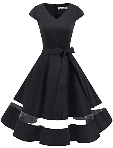 Gardenwed Women's 1950s Rockabilly Cocktail Party Dress Retro Vintage Swing Dress Cap-Sleeve V Neck Black M