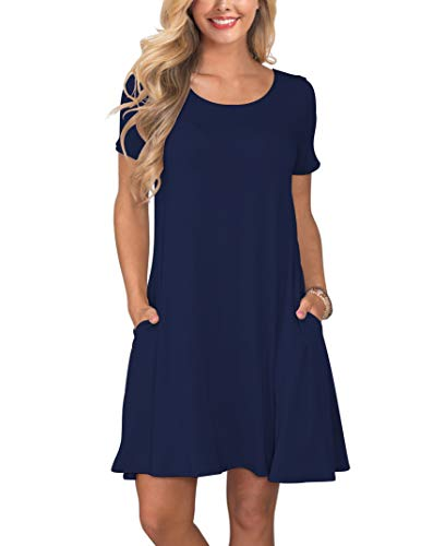 KORSIS Women's Summer Casual T Shirt Dresses Short Sleeve Swing Dress with Pockets NavyBlue L Blue Striped Cotton Dress Shirt