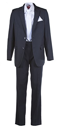 Boys Slim Fit Navy Suit, White Communion Cross Tie, Suspenders & Handkerchief (7 Boys) by Tuxgear