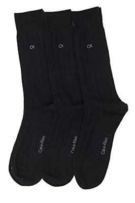 Calvin Klein Men's 3-Pairs Solid Ribbed Dress Crew Socks