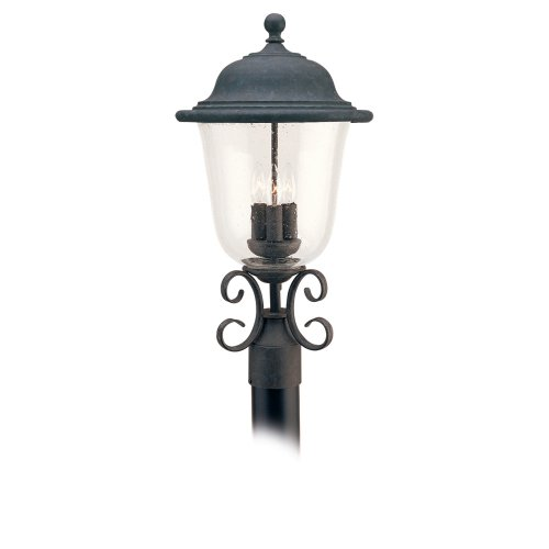 (Sea Gull Lighting 8259-46 3-Light Trafalgar Post Mount Light Fixture, Oxidized)