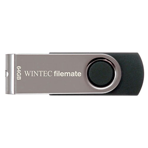 Wintec FileMate Swivel 64GB USB 2.0 Flash Drive, Black/Silver (3FMUSB64GWB-R)
