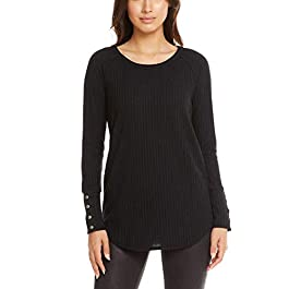 Ladies' Long Sleeve Waffle Thermal Tunic Sweater Top