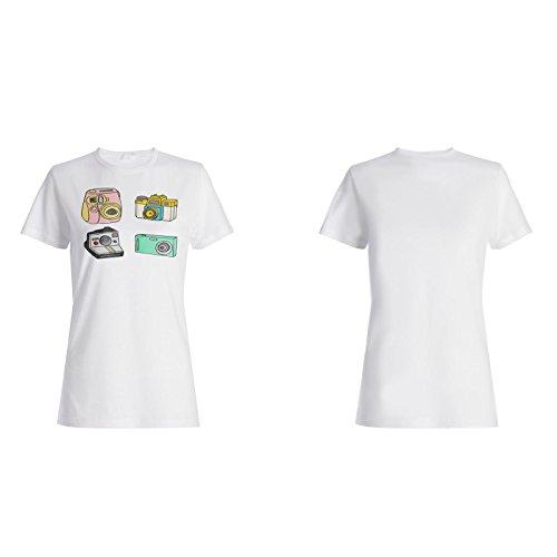 Neue Handgezeichnete Bunte Kamera Damen T-shirt i119f
